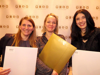 L to R: Prize winners Sarah Phillips, Joanna Fronczak-Jabbal and Siobhan Maher