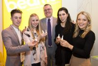 Left to right are Aaron Cumbers, Lucy Whitehouse, Andrew Morton MD of Weston Beamor, Milena Vizuete-Courtes and Suzannah Key.